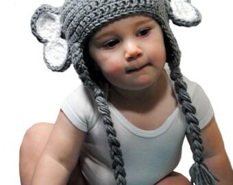 Elephant Crochet Hat, Crochet Baby Hat, Toddler Boys Animal Hat, Kids Elephant Hat , Baby Boys Hat, Gray Elephant, Newborn Photo Prop Infant