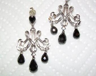 Antique style black onyx Chandelier earrings