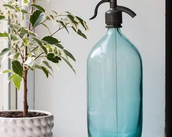 Vintage Siphon Seltzer Bottle - Blue Glass Soda Syphon Bottle for Kitchen Decor