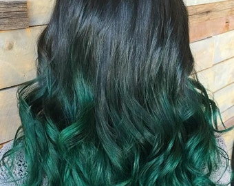 Clip in virgin Human Hair Extensions 1 B (Natural black) - Emerald Green Ombre