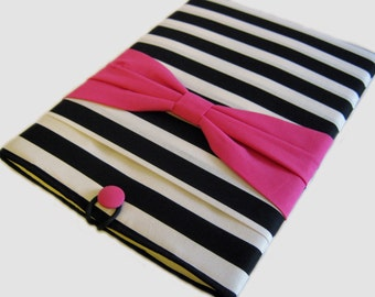 Macbook Pro Sleeve, Macbook Pro Cover, 15 inch Macbook Pro Cover, 15 inch Macbook Pro Case, Laptop Sleeve, Pink bow on Stripes