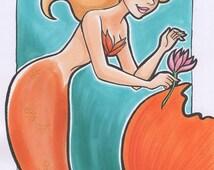"Merigold Mermaid Pin Up - Original 5""x 7"" Marker Art"