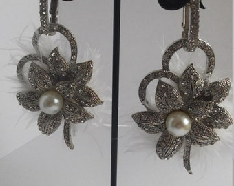 Bling bling pearl flower earring