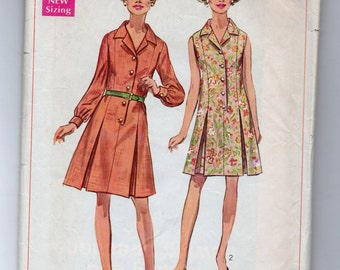 8003 Simplicity Sewing Pattern Princess Dress 36B Size 14 Shirtdress Vintage 1960s