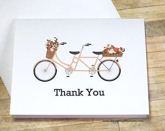 Tandem Bicycle Thank You Card Set, Wedding Thank You Cards, Tandem Bicycle Thank You Cards, Engagement Thank You Cards, Bike Cards DM275