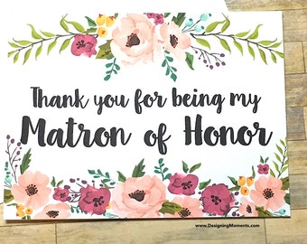 Matron of Honor Thank You Card - Floral Thank You For Being My Matron of Honor Card - Wedding Thank You - Maid of Honor - MULBERRY