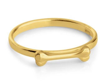 Dog Bone Puppy Treat Pet Animal Stackable Ring #14K Gold Plated over 925 Sterling Silver #Azaggi R0538G