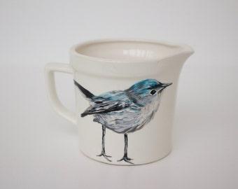 Hand Painted Creamer - Blue Bird - Original Painting