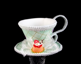 Mint and White Purple Rose Lattice with Strawberry Dessert Tea Cup Fascinator Hat, Alice in Wonderland Mad Hatter Tea Party, Derby Hat