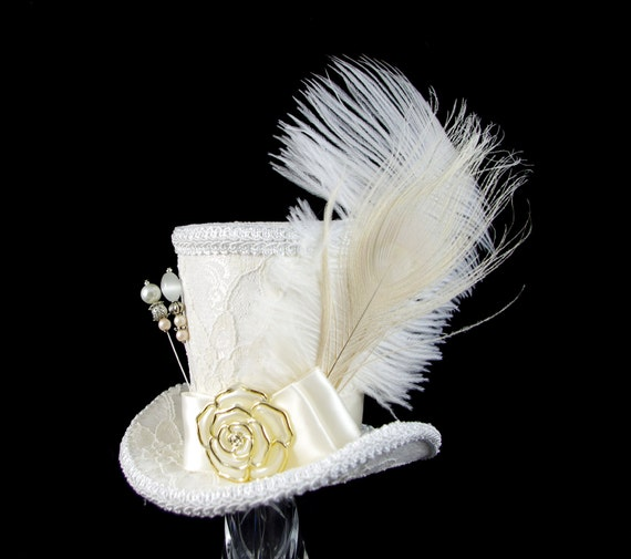 Ivory and White Lace Peacock Wedding Large Mini Top Hat Fascinator, Alice in Wonderland, Mad Hatter Tea Party, Derby Hat