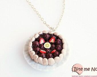 Charlotte Cake Necklace, Charlotte Gateau Necklace, Cake Jewelry, Chocolate Gateau, Cake Necklace, Food Jewelry