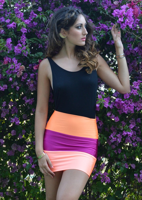"""20% Off """"Sorbetto"""" 3 Tone Bodycon Skirt by Sex Kitten Couture"""