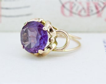 Vintage Alexandrite Ring | Retro 1940s Ring | 14k Yellow Gold Ring | Rose Gold Ring | Antique 1930s Ring | Gemstone Ring | Size 6.25