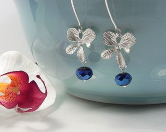 Silver and Cobalt Blue Orchid Earrings, flower dangle earrings, matte silver earrings, everyday earrings, ORCHID Bridesmaid Earrings