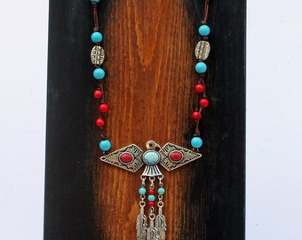 Thunderbird Leather Turquoise Necklace, Turquoise Jewelry, Native American Jewelry, Southwestern Jewelry, Feather Jewelry, Leather Jewelry
