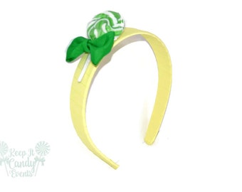 Green Lollipop Headband , Green Headband, Candy Headband, Flowergirl Accessory, Green Sweet Sixteen Accessory, Green Birthday Party Ideas