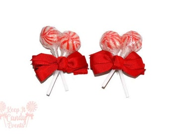 Red Lollipop Hair Clips, Christmas Wedding, Christmas Accessory, Stocking Stuffer, Christmas Gifts, Red Hair Clip, Flower girl accessory