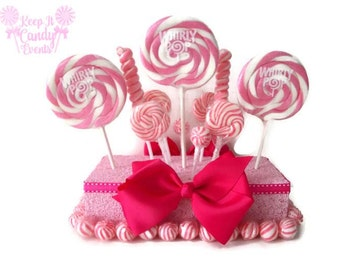 Pink Lollipop Centerpiece, Pink Centerpiece, Candy Centerpiece, Pink Baby Shower Centerpiece, Wedding Centerpiece, Candy Buffet Decoration