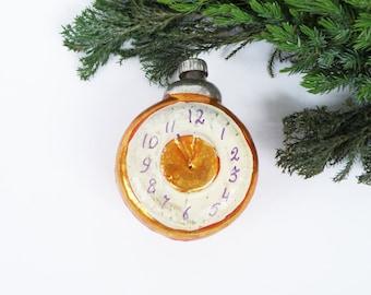Orange Alarm clock Glass Christmas ornament Watches Blown glass bulb Soviet Christmas Outdoor decoration 1950s Christmas decorations Kawaii
