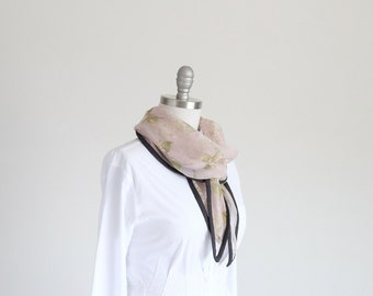 Chiffon pastel floral silk scarf in a Liberty rose quartz and white floral, mother of the bride, great day to night travel essential