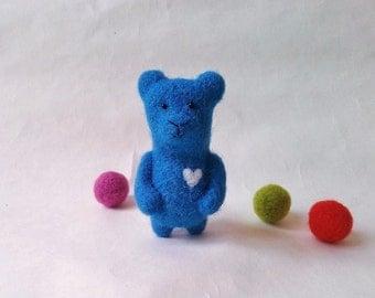 Felted Animal,Needle Felted Bear Brooch, Blue Bear, Blue Brooch
