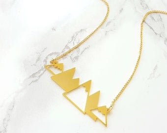 Mountains Necklace, gold mountain necklace, gold mountain range, mountain necklace, nature jewelry, mountain jewelry, signature necklace