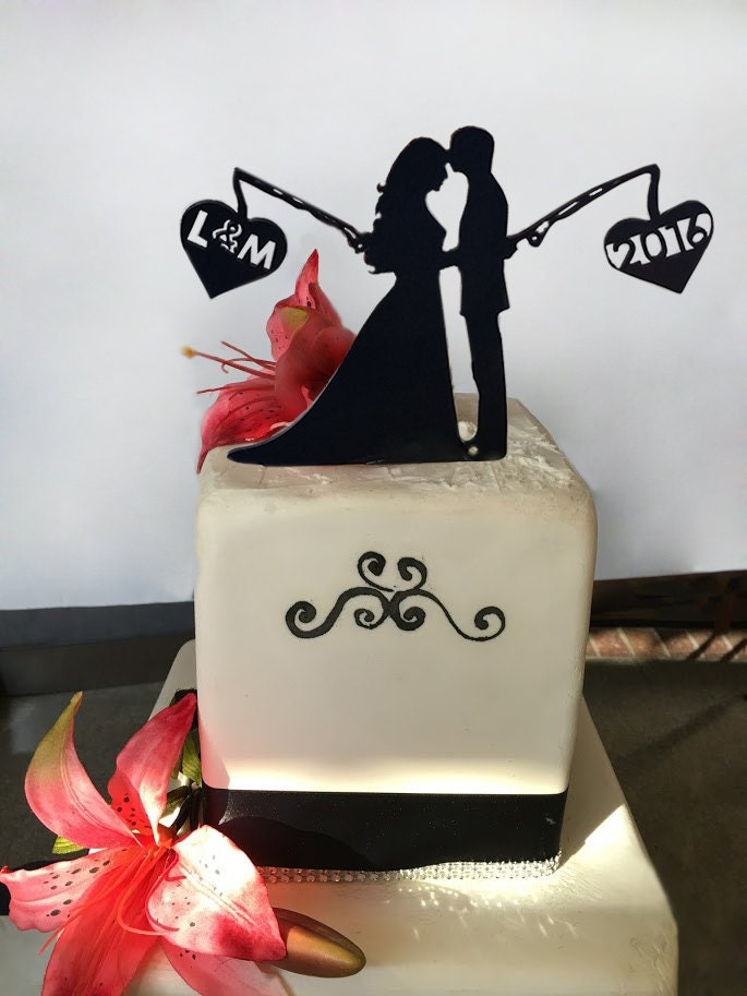 Fishing Cake Topper Black By Finelineengraving On Etsy