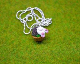Bunny butt cupcake necklace,Easter bunny cupcake necklace,Easter cupcake,Miniature food jewelry,Food jewelry,Polymer clay jewelry