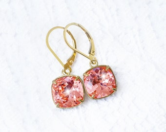 Coral Bridal Earrings, Rose Peach Swarovski Crystal Gold Lever Back Earrings, Salmon Pink Swarovski Crystal Bridesmaid Earrings