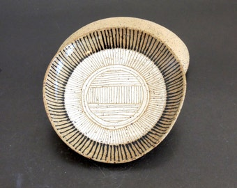 Handbuilt small black and white stripes ceramic plate, ring dish