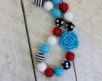 Alice in Wonderland necklace. Bubblegum necklace in red white blue and black for trips to Disney. Birthday Back to school Christmas necklace