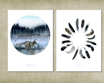 Set of 2 prints. Native watercolor circle art paintings of woodland - black and white feathers. Eco-friendly recycled paper. A5