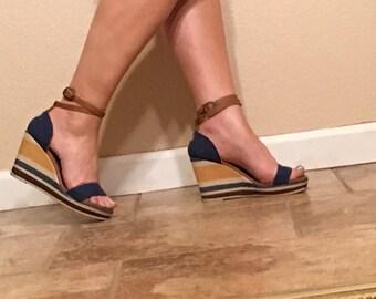 Vintage 70s Style Levis Vegan Sandal Size 6. Blue Denim & Yellow Canvas Shoe. Platform Wedge Sandal. 90s Hippie Boho Ankle Strap Espadrille