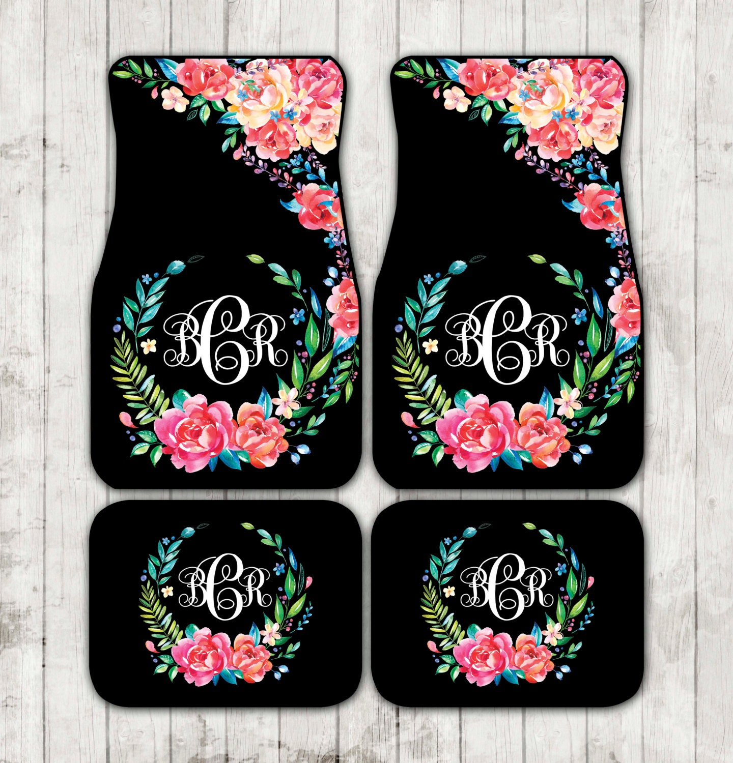 Floor mats kenya - Floral Monogrammed Car Mats Classy Black Monogram Carmats Car Floor Mats Custom Car Accessories For Her Car Decor Cute Car Accessories