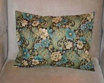 Travel Pillow Case / Accent Pillow Case FLORAL PAISLEY on BROWN / Tans / Aqua / Green / Gold