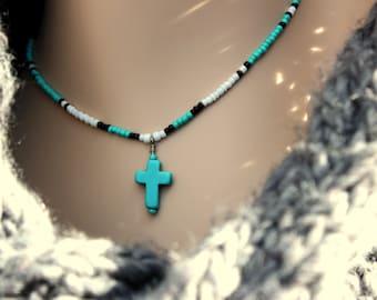 "14""-18""Turquoise Cross Choker~Seed Bead Native American Style~Turquoise Cross Pendant~Beaded Tribal Cross~Turquoise Cross Charm~Boho Cross"