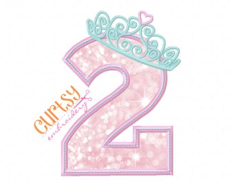 Second Birthday Embroidery Design, Second Birthday Applique Design, Princess Birthday Design, Tiara Embroidery Design