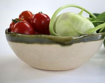 ceramic bowl , green and sand , handmade