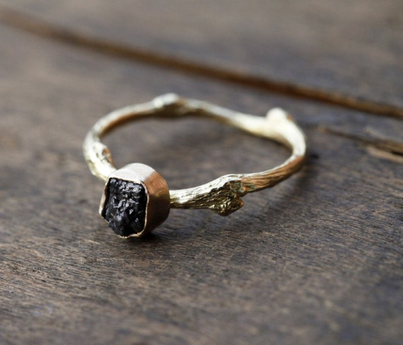 Rough diamond twig ring