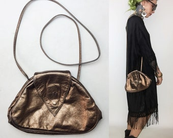 80's Copper Leather Geometric Cross Body Purse -  Gold Bronze Metallic Vintage Pocketbook - 1908's Glam Hinge Purse - Geo Hipster Purse