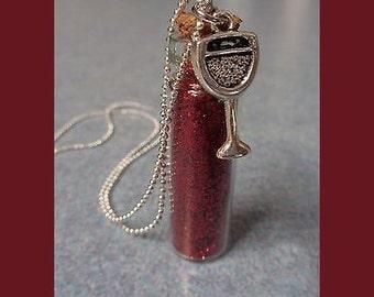 Wine Diva Glass Vial Necklace.  For Wine Lovers. Bartender gift
