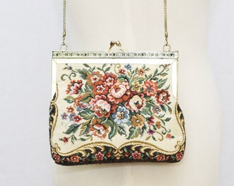 1960s Floral Tapestry Purse - Vintage 60s Chain Strap Kiss Lock Floral Purse