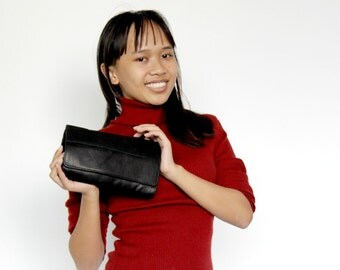 Sale 20% Clutch purse in black , Leather wallet women , Women wallet