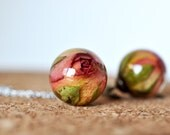 Orange Rose Pendant- Real Rosebud Resin Sphere Pendant Necklace, Pressed Flower Resin Jewelry,