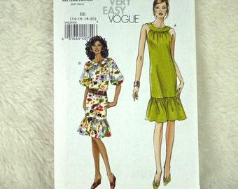 Dress, M L XL, Vogue V8229 Pattern, Gathered Round Neckband, Ruffle, Back Zipper, 2007 Uncut, Size 14 16 18 20