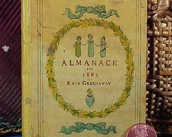 Antique Kate Greenaway's Almanack for 1883, Miniature Book,  London, George Routledge, Edmund Evans