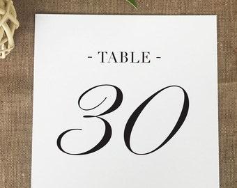 Ampersand Monogram Table Numbers, Formal Wedding Table Numbers, Printed Table Numbers, Black Tie Table Number Cards