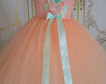 Peach and mint flower girl tutu dress