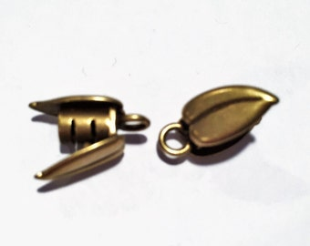 3mm Double Brass Leaf Crimp Cord End Caps, JBB Findings, Cord Ends with loop, jewelry supplies, bracelet necklace clasp,