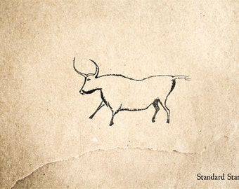 Cave Art Ox Rubber Stamp - 2 x 1 inches